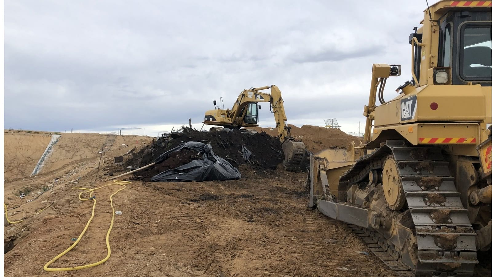 Fire-affected material ready for landfilling at the Central Waste Facility.
