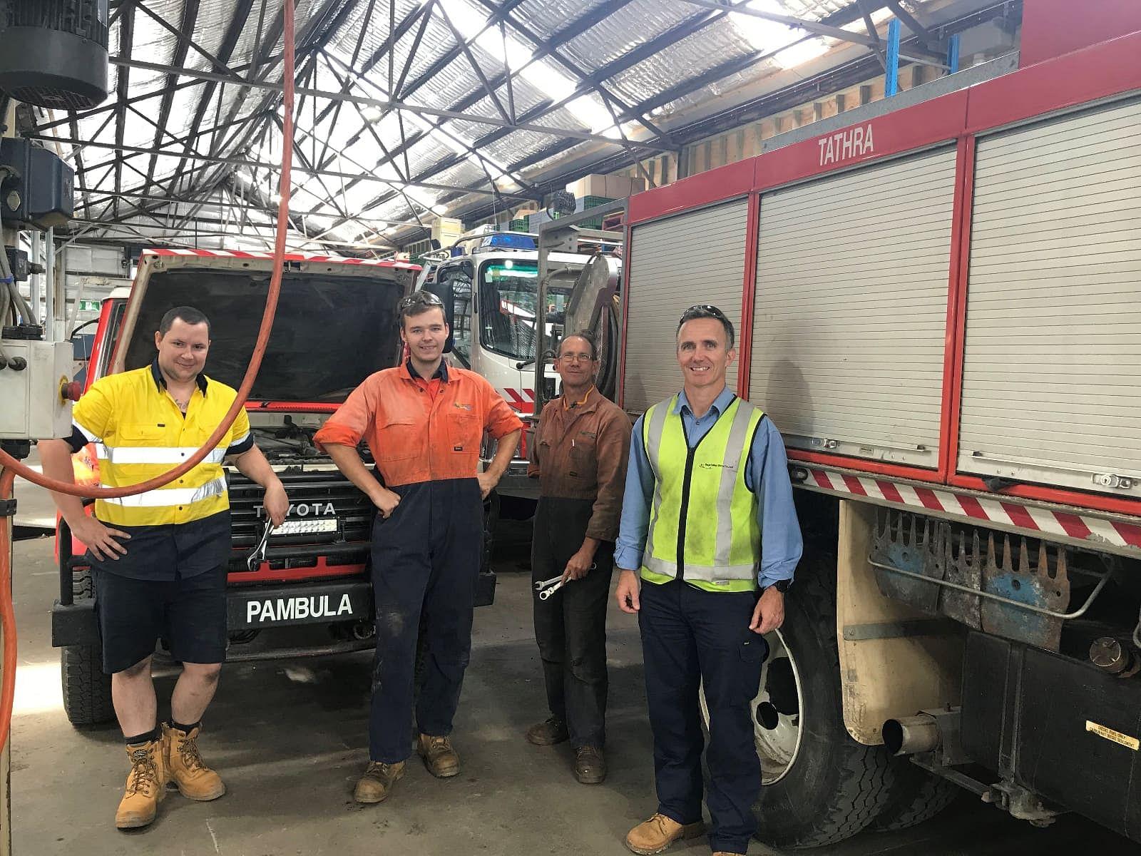 L to R Adam Swarbrick (Mechanic), Zane Bagley (Apprentice), Bruce Summerell (Mechanic) and Sean Baggett (Fleet Supervisor)
