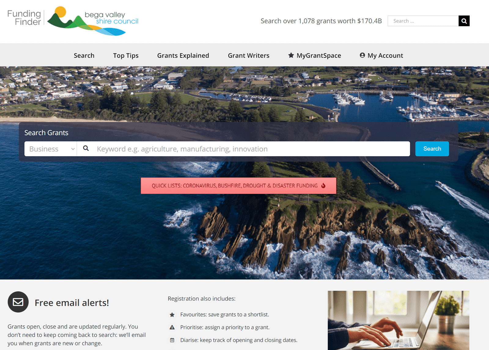 Funding Finder homepage.