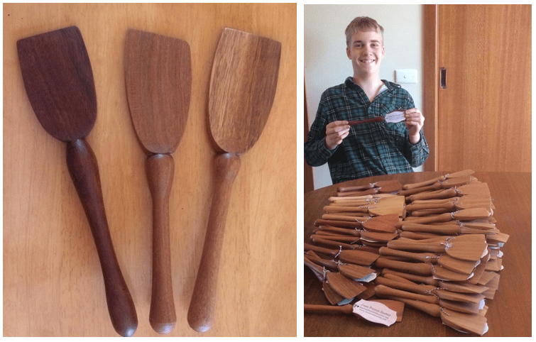 Jamie Parker-Barnes with 100 of his handcrafted wooden spatulas.