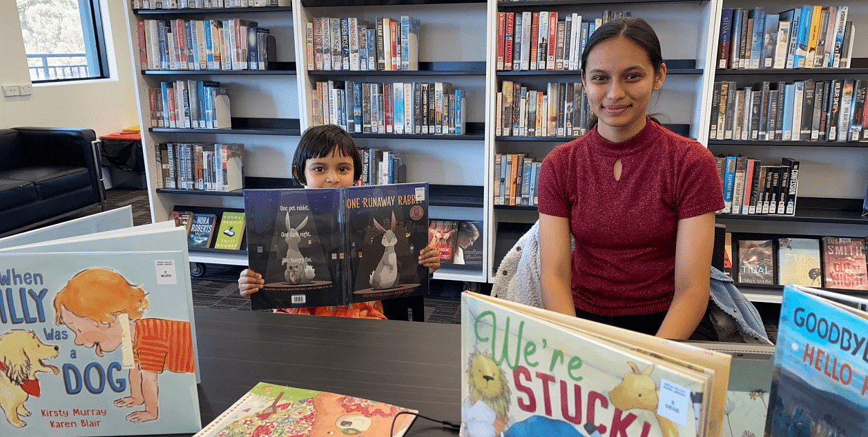 Khushi and Kesar check out a few of the CBCA shortlisted Books of the Year at Tura Library.