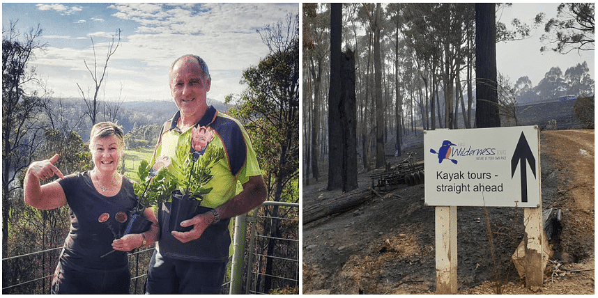 Jenny and Arthur Robb before the bushfires and next to that photo is the Kiah Wilderness Tours sign against a burnt backdrop.