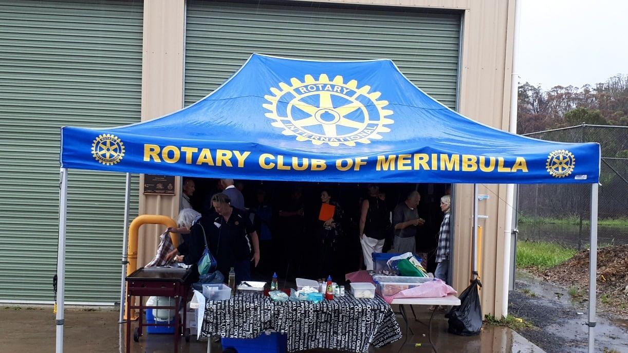 Rotary Club of Merimbula marquee in front of Kiah volunteer bush fire brigade shed.