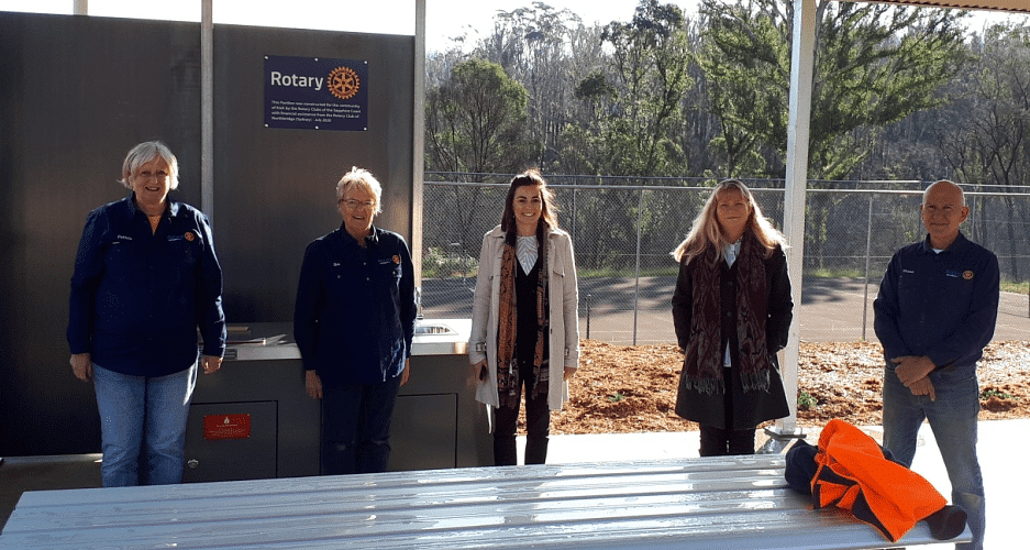 Members of the Kiah Pavilion project team at the finished site, from left: Patricia Witton (Rotarian member), Sue Jellis (Rotary President), Rickee Marshall (Council), Katrina Berenguer (Council) and Shane Osta (Rotariain).