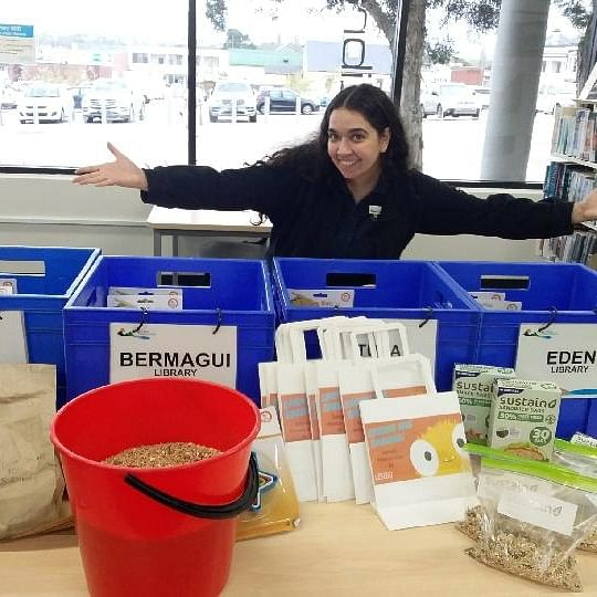 Saphron makes up craft kits for libraries to give away during school holidays.