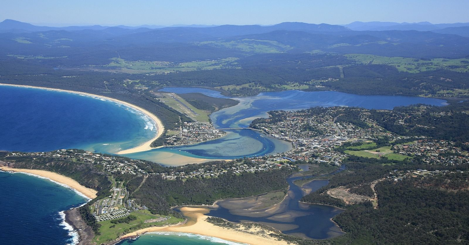 Merimbula airial view with airport in the background.