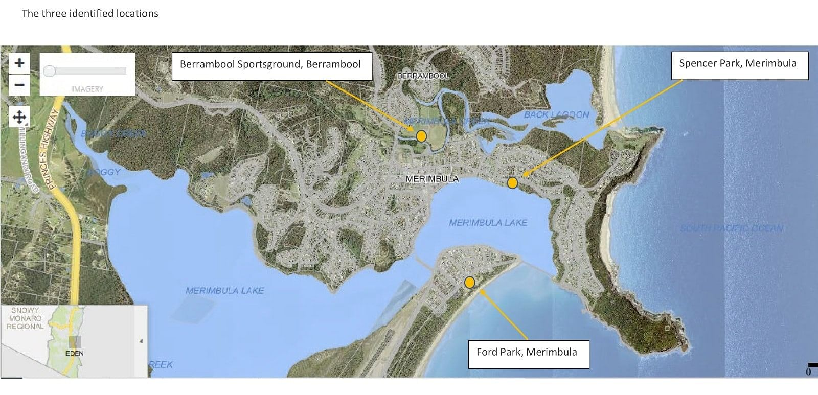Map of three suggested locations for Merimbula skatepark.
