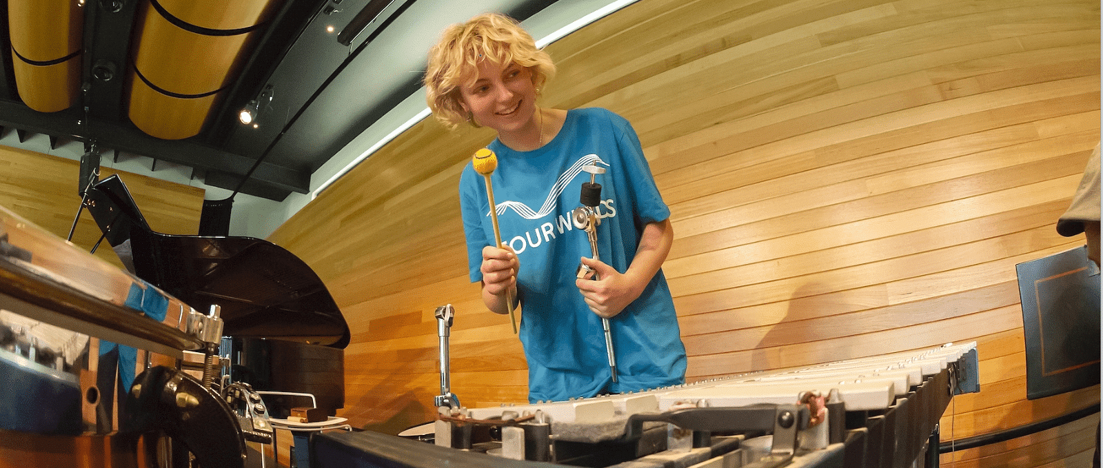 Young drummer India Hartley in action at last year's Four Winds Spring Youth Music Festival. Photo by Sunny Gill. This year (12-17 November) Four Winds will take the festival into schools, and also record student and guest performances in the Windsong Pavilion at Four Winds.