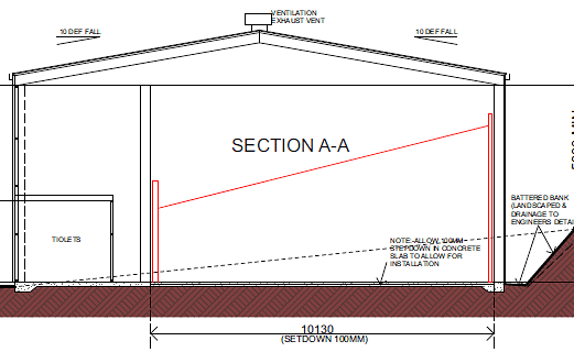 Section elevation of the new Pambula sports hall.