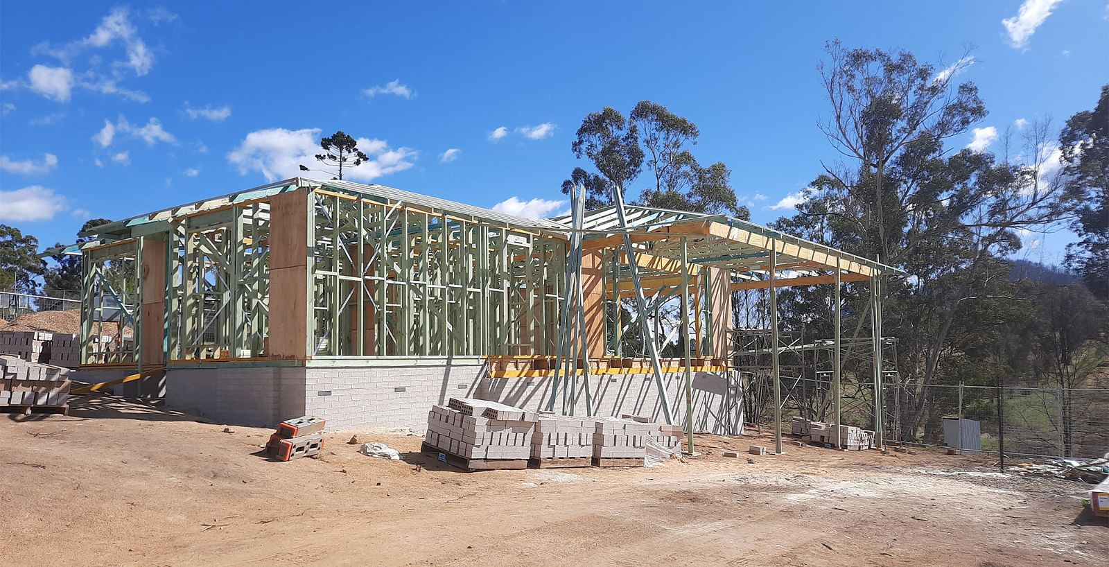 A house in the process of being built.