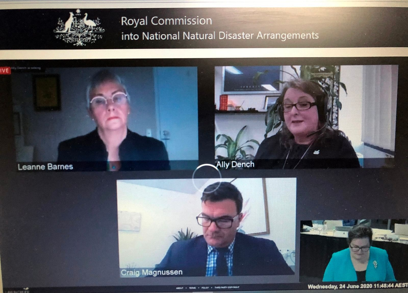 Bega Valley Shire Council General Manager Leanne Barnes appeared before the Royal Commission into National Natural Disaster Arrangements via virtual means.