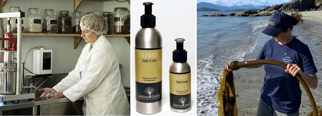 Three photographs-Kay Saarinen in the Saarinen Organics lab-Saarinen Organics Seaweed Hand Cream-Jo Lane of Sea Health Products hold a piece of kelp.