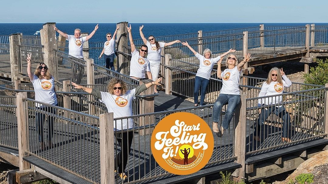 Bega Valley Shire Council, Sapphire Coast Destination Marketing, Visitor Centre, Chamber of Commerce and Industry reps got together to launch the collaborative recovery campaign, Sapphire Coast - Start Feeling It!.