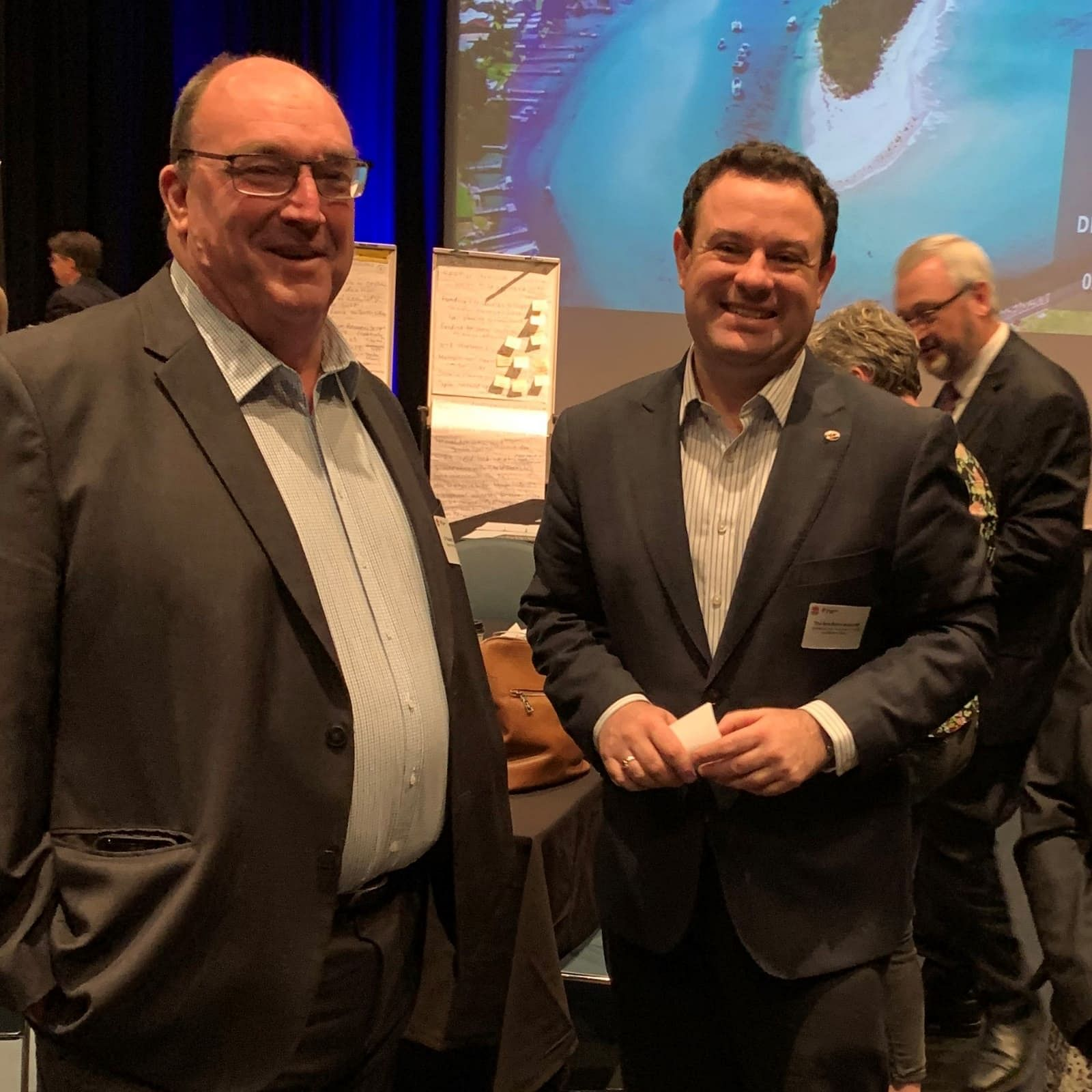 Bega Valley Shire Council Mayor Cr Russell Fitzpatrick discussing the local tourism industry with the NSW Tourism Minister, the Hon Stuart Ayres.