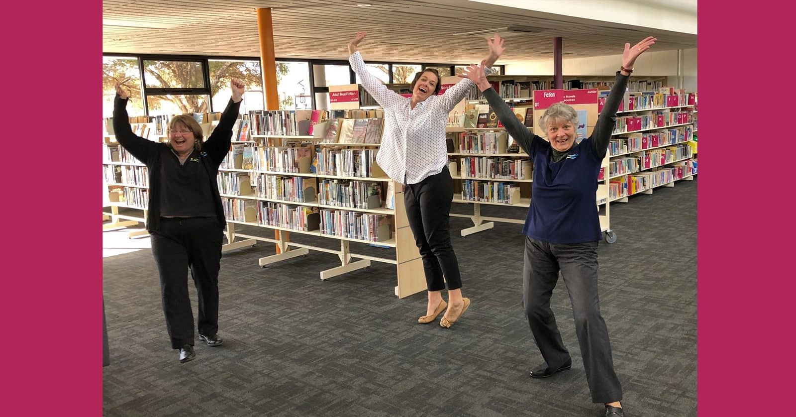 Photo: Vicki Buckley, Jayde Timms and Anne Moore from Bega Valley Library Service are jumping for joy as COVID-19 restrictions ease and libraries reopen from 15 June.