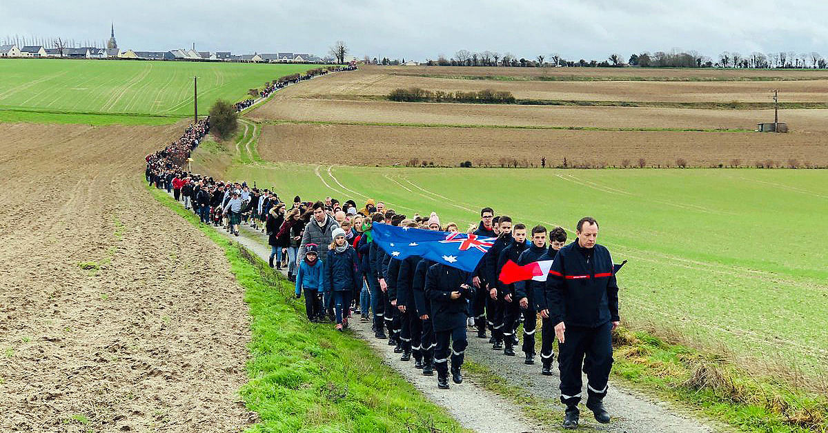 Photograph: Over 1000 people participated in a solidarity march in Villers-Bretonneux as part of a fundraising campaign for our bushfire recovery. (Photo credit: Sir John Monash Centre and ADF).
