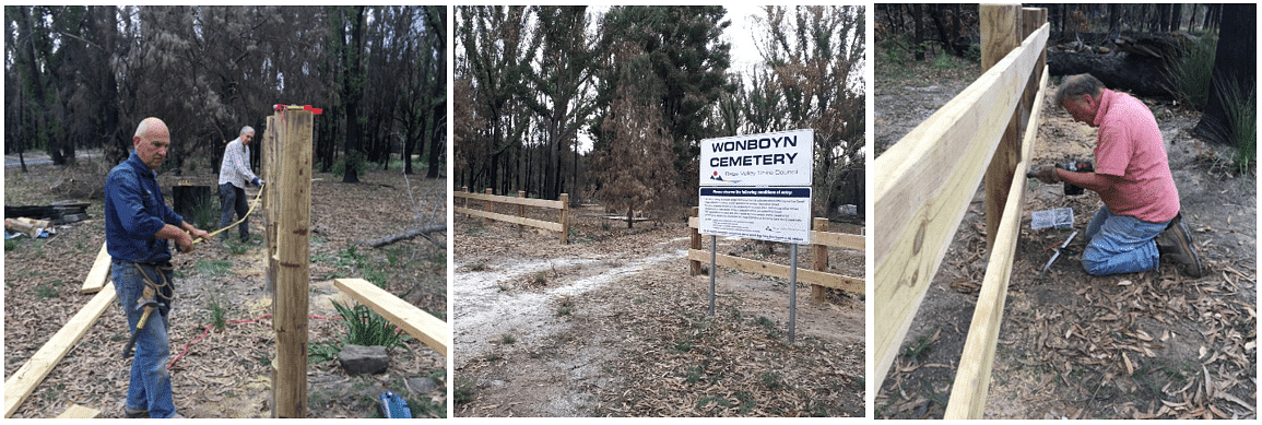 Volunteers measuring and building the fence at Wonboyn cemetery.