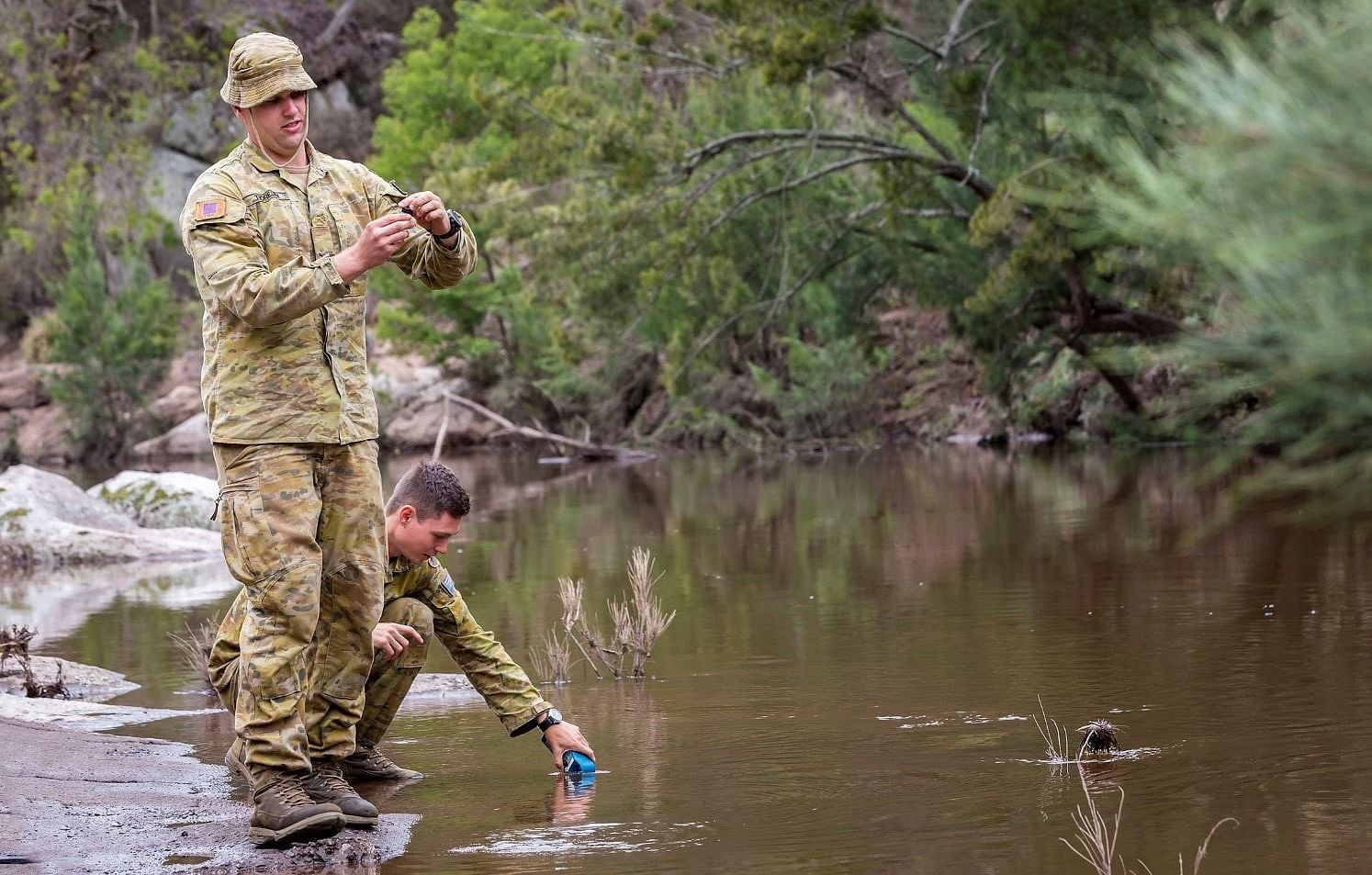 Australian Defence Force testing water at the Brogo Dam.