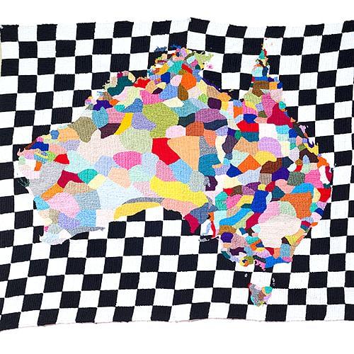 Artwork by Paul Yore, Map, 2012, wool needlepoint, 90 x 101 cm, Wangaratta Art Gallery Collection, @the artist.