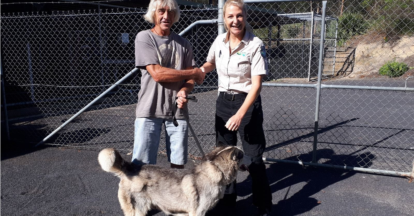 Nowra's Graham Lee and Council Ranger, Trudi Badullovich after Graham and Indie were reunited after more than two years.