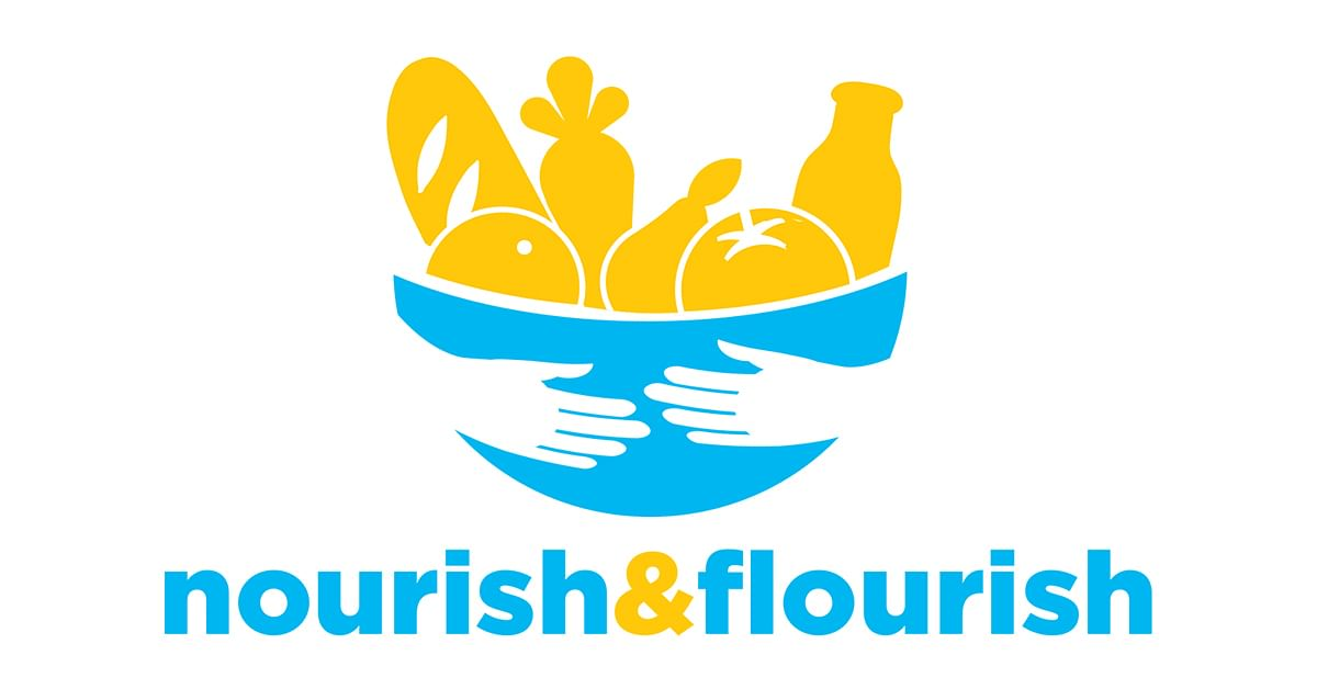 Nourish and Flourish logo, bowl of food being held by two hands.