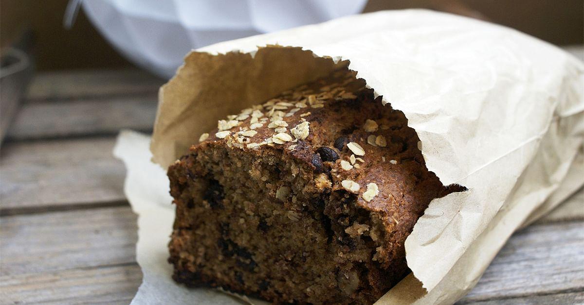 Loaf of freshly baked banna bread.