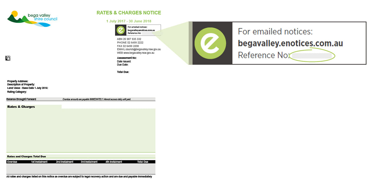 Image of rates notice and where to find the eNotice Reference number in the top right corner.