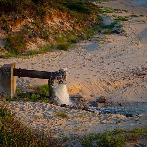 Image of current STP outfall at Merimbula Main Beach