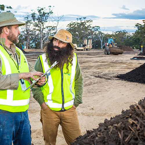 Costa Georgiadis (right) talks organic waste with Bega Valley Shire Council�s Mick Jarochowicz during a visit to the Merimbula Waste and Recycling Depot.