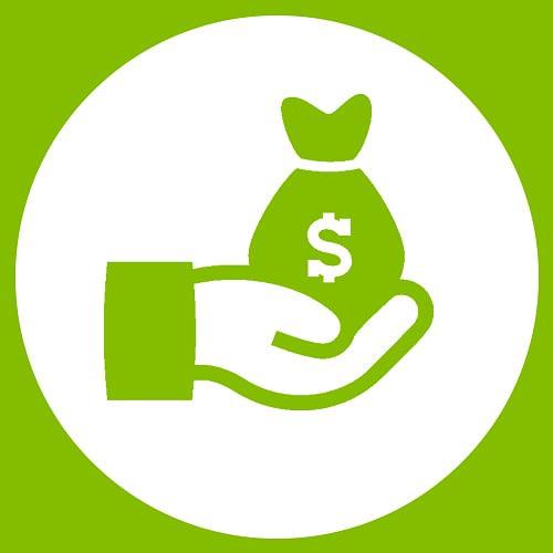 Hand holding money bag.