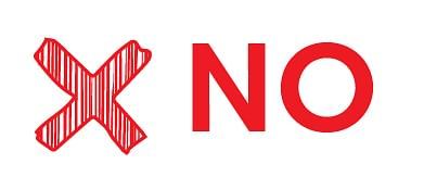 Image with the word no with a big cross next to it.