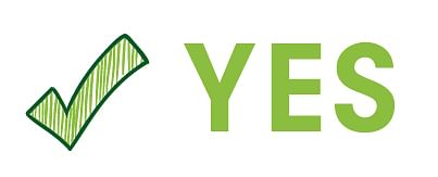 Image with the word yes with a big tick next to it.