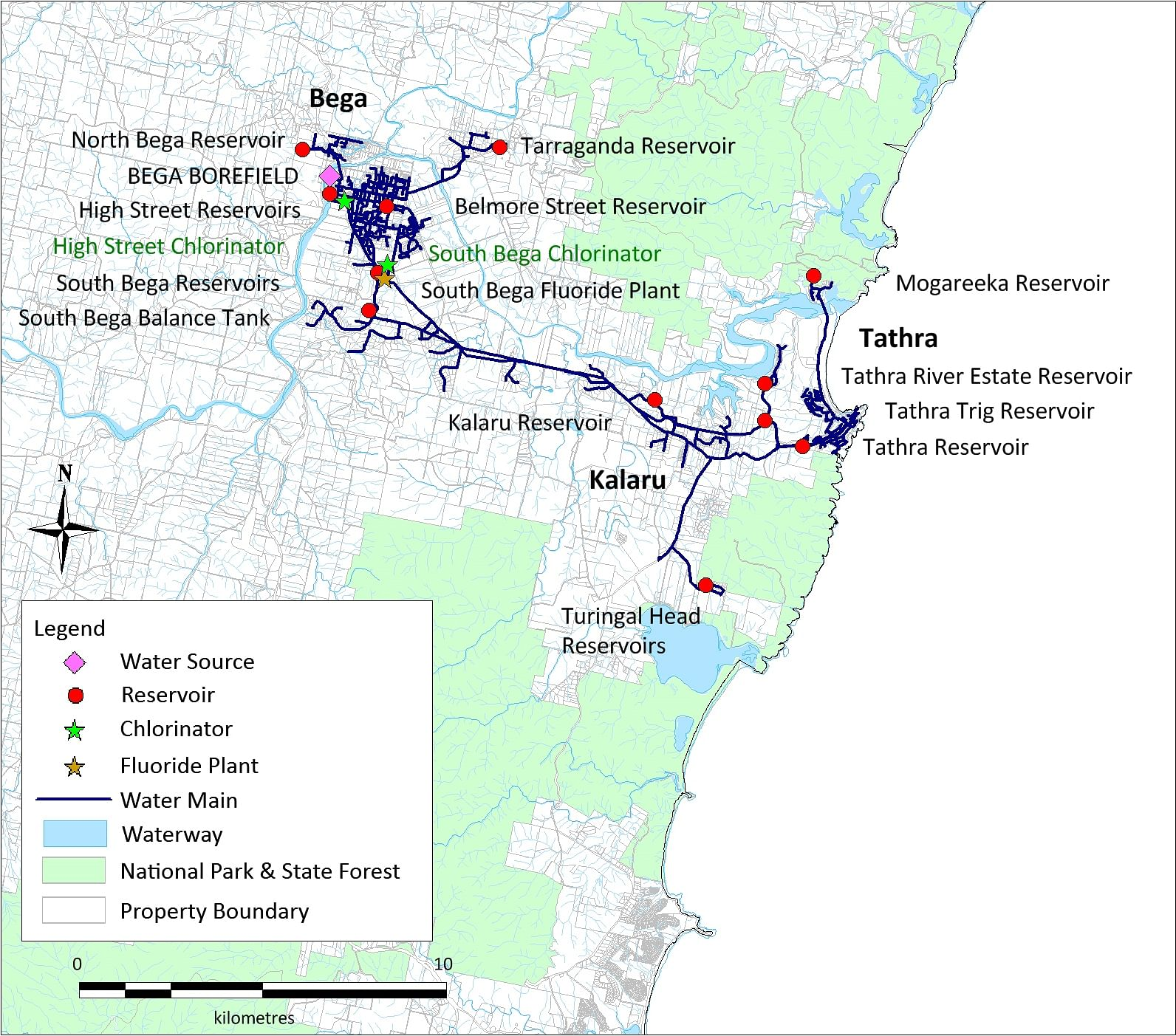 A map of the Bega-Tathra water supply system