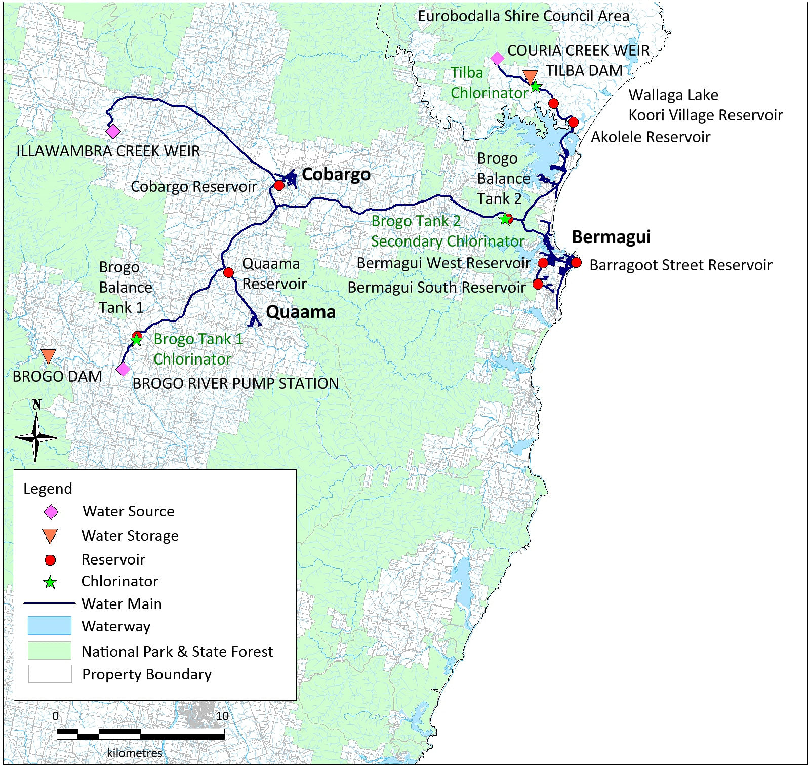 A map of the Brogo-Bermagui water supply system