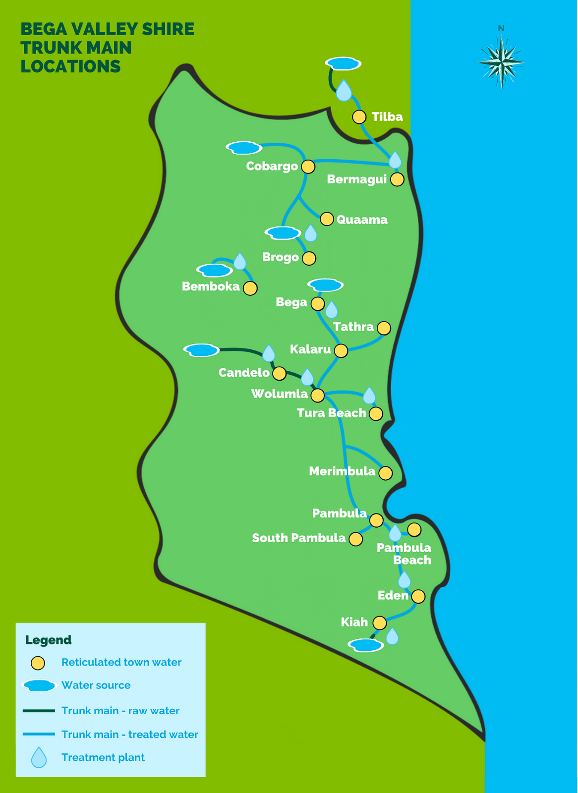 A map of the Bega Valley Shire's water trunk mains.